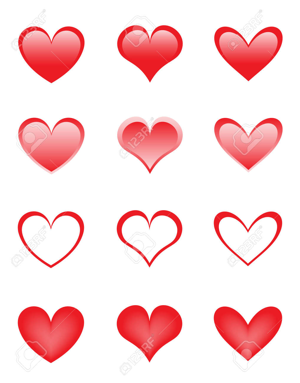 set of the beautiful hearts Stock Vector - 8596141