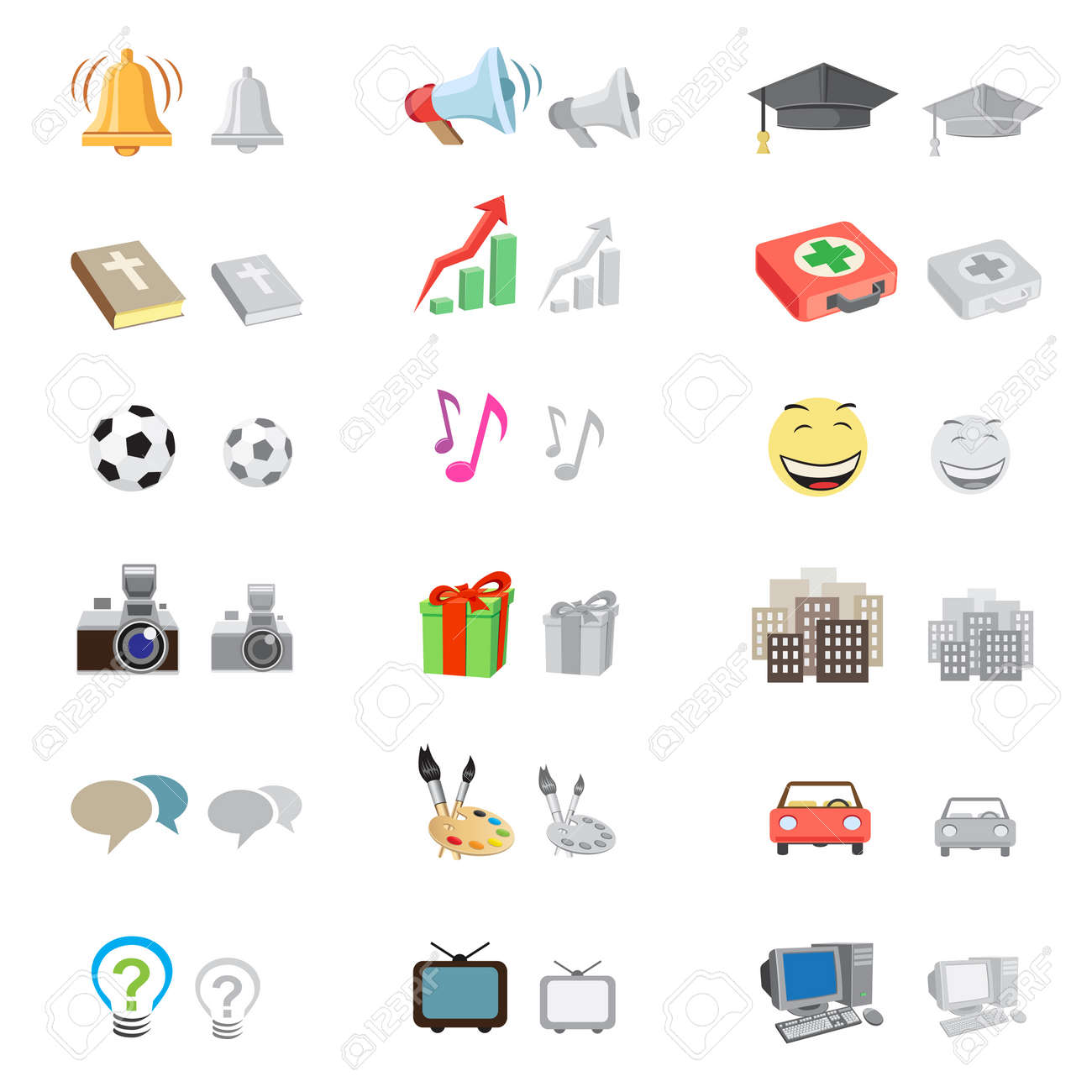 The forum icon set suitable to use any kind of website, with monochrome version, isolated on the white background Stock Vector - 15652674