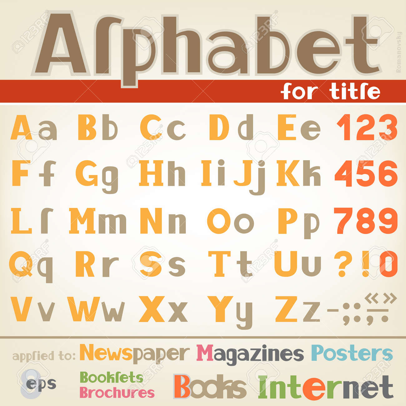 The Alphabet For Writing Headlines And Different Titles Text