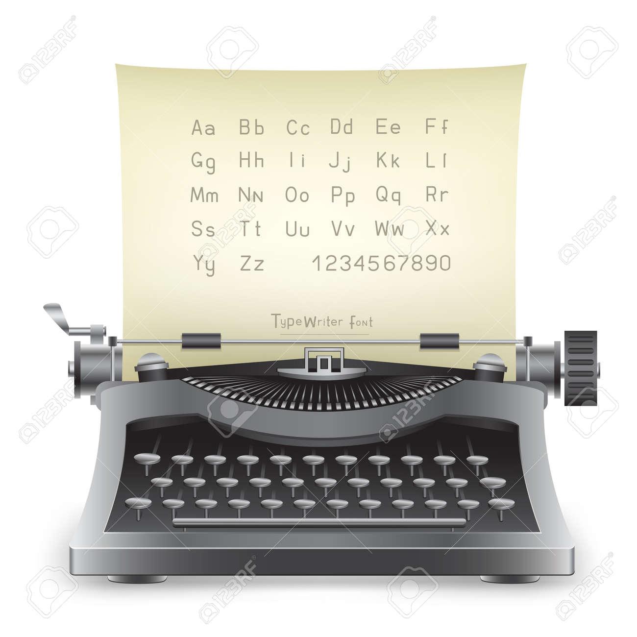 The retro desktop black typewriter with alphabet on the white background Stock Vector - 21742863