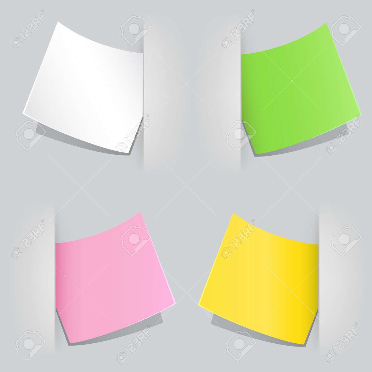 The colored sheet of paper popped as reminder in the gray background Stock Vector - 21742865
