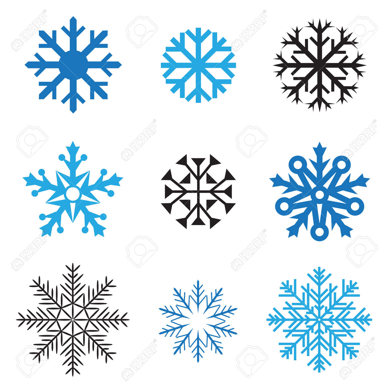 different simple snowflakes for design on white background stock vector 23643560