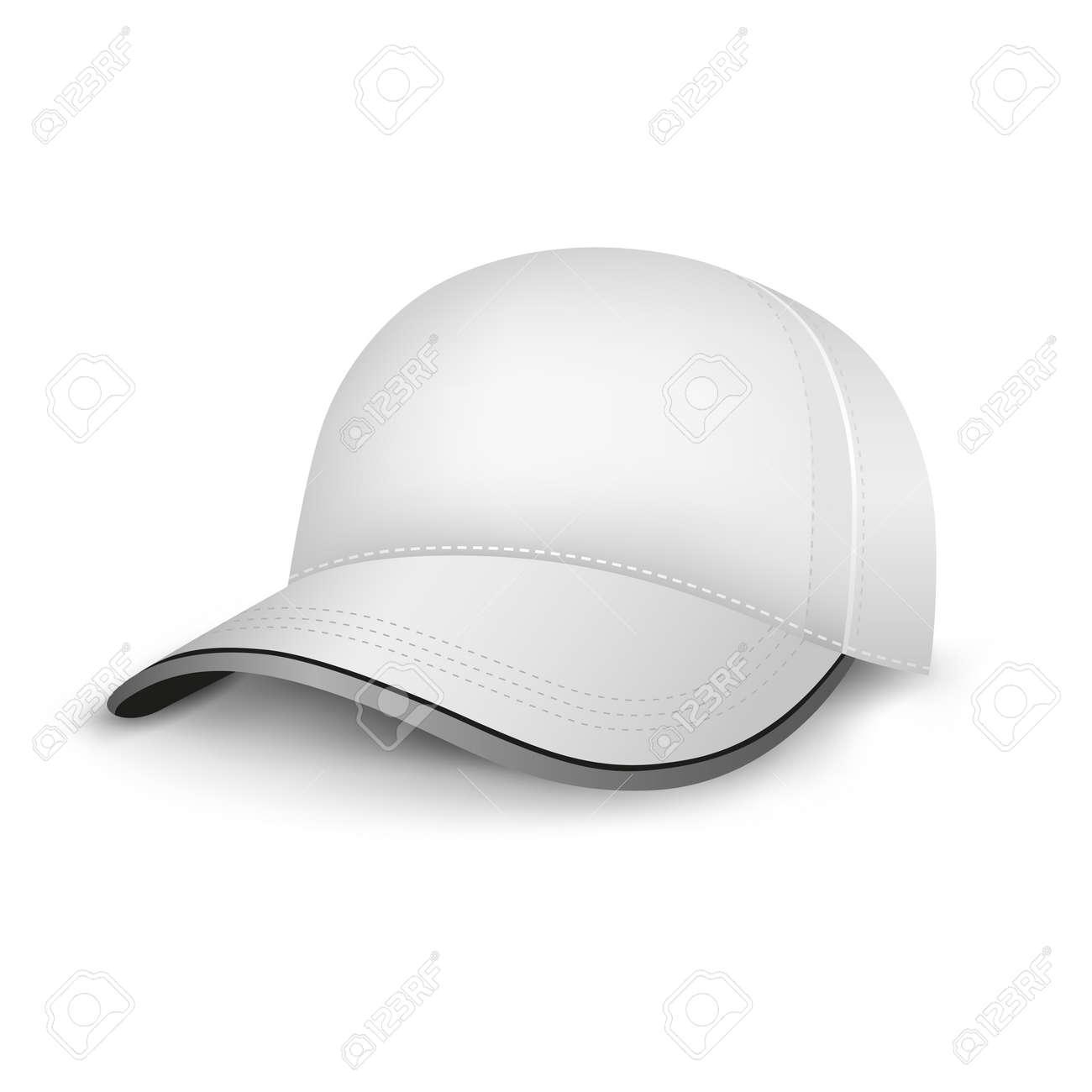 Foto de archivo - La malla gorra blanca plantilla vacía en el fondo blanco 8a13c79179a