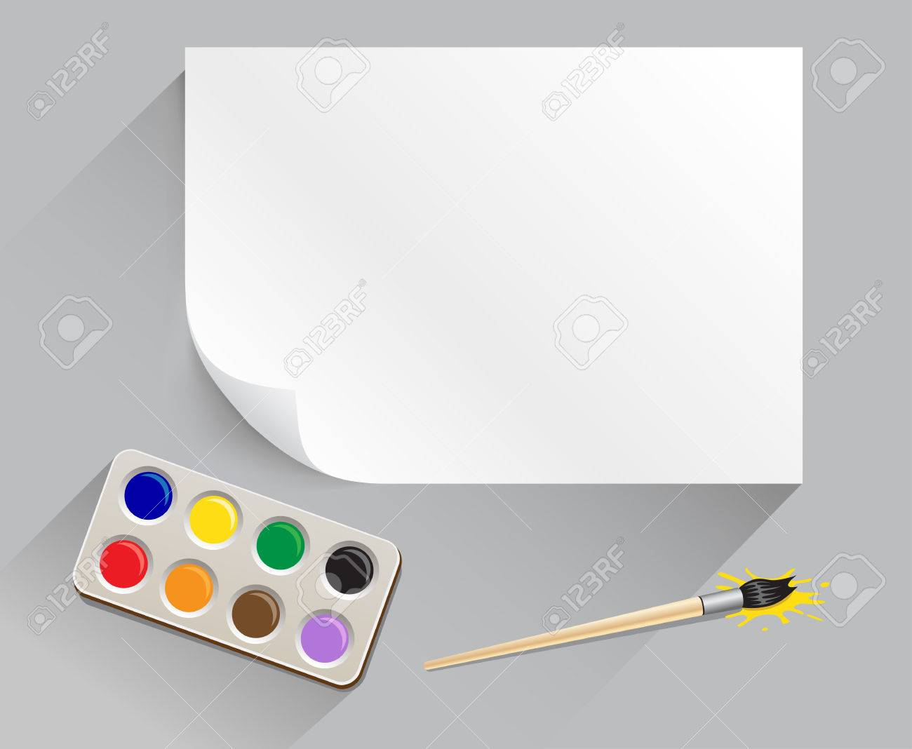 the artist set with paintbrush paintbox white template paper