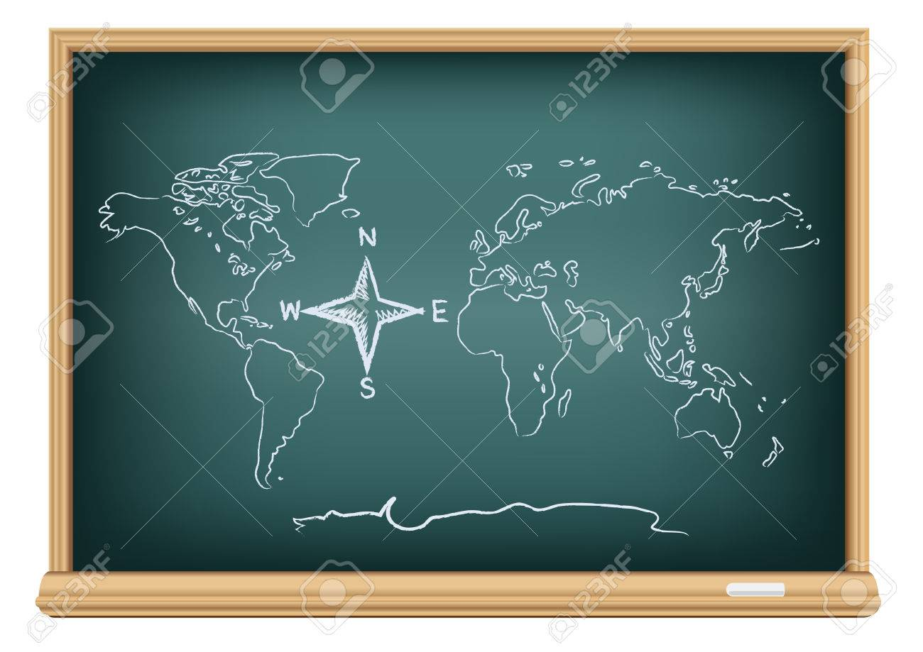 Studying geography map drawing world and compass wind rose on north south east west studying geography map drawing world and compass wind rose on education blackboard on a white publicscrutiny Image collections