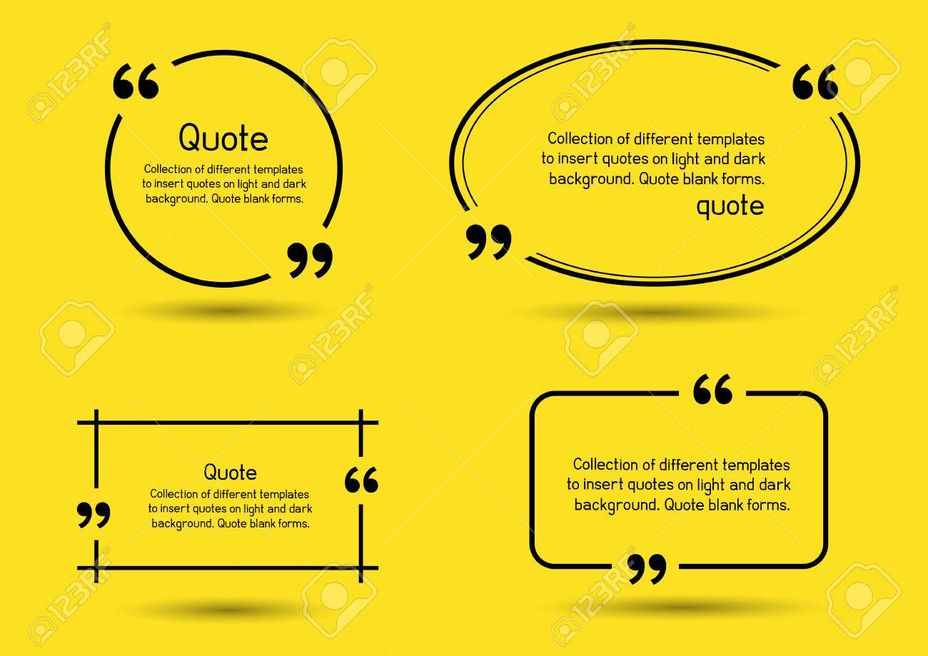 templates for writing quote round square oval rectangular quotes templates for writing quote round square oval rectangular quotes forms on yellow background stock