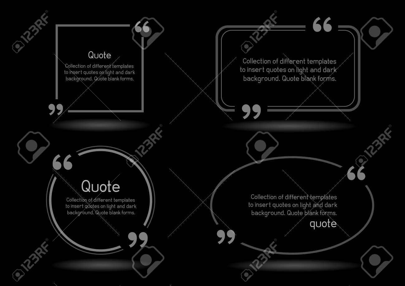 templates for writing quote round square oval rectangular quotes templates for writing quote round square oval rectangular quotes forms on black background stock