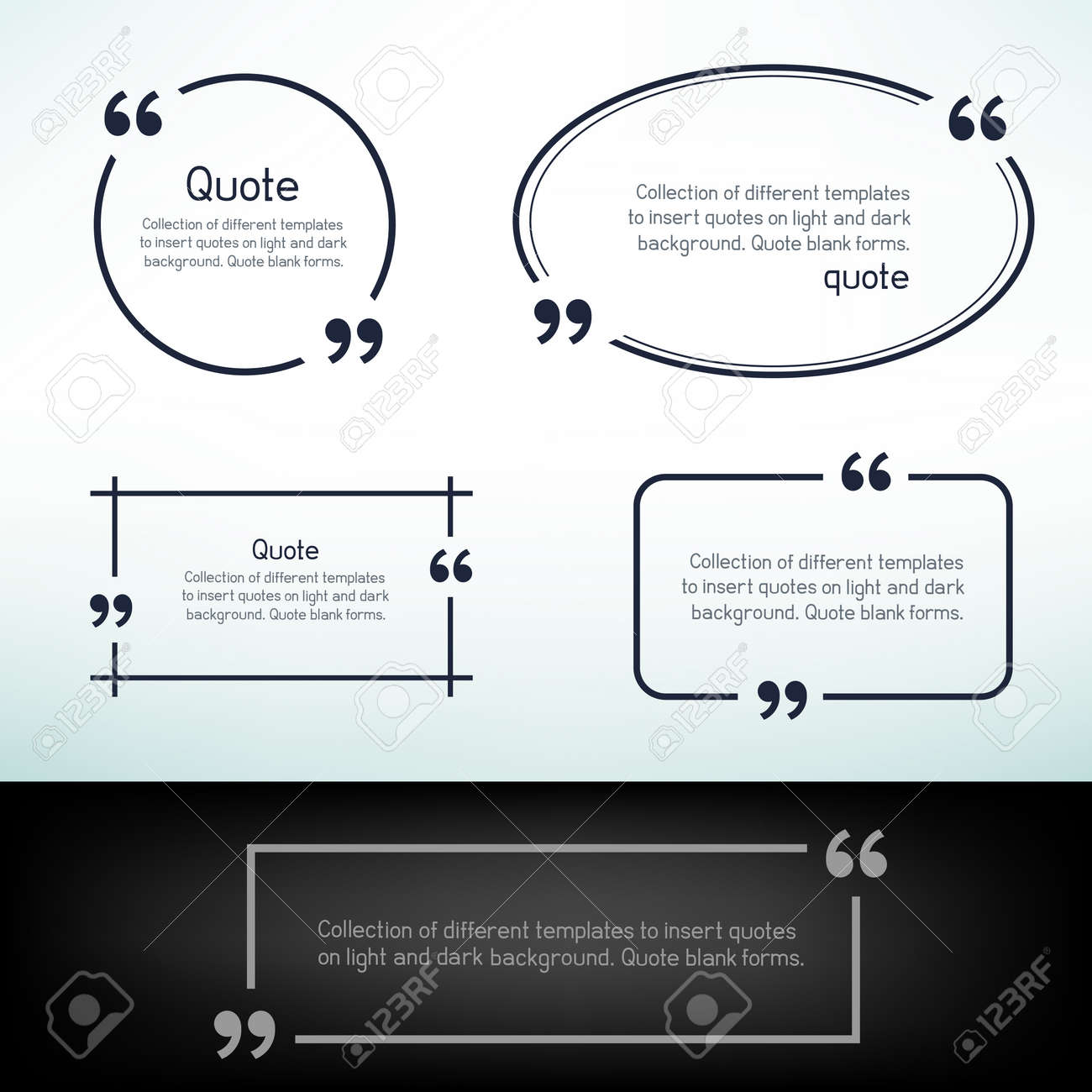 simple quote templates round square oval rectangular quotes simple quote templates round square oval rectangular quotes forms on light and dark background