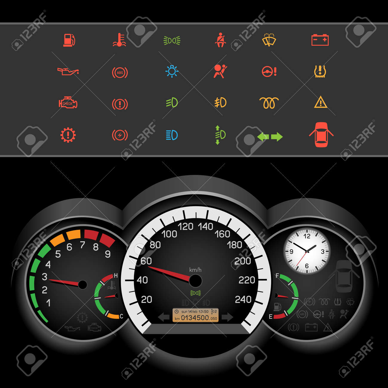 Car Control Panel Night Interface On Black Background Car - Car image sign of dashboardcar dashboard icons stock images royaltyfree imagesvectors