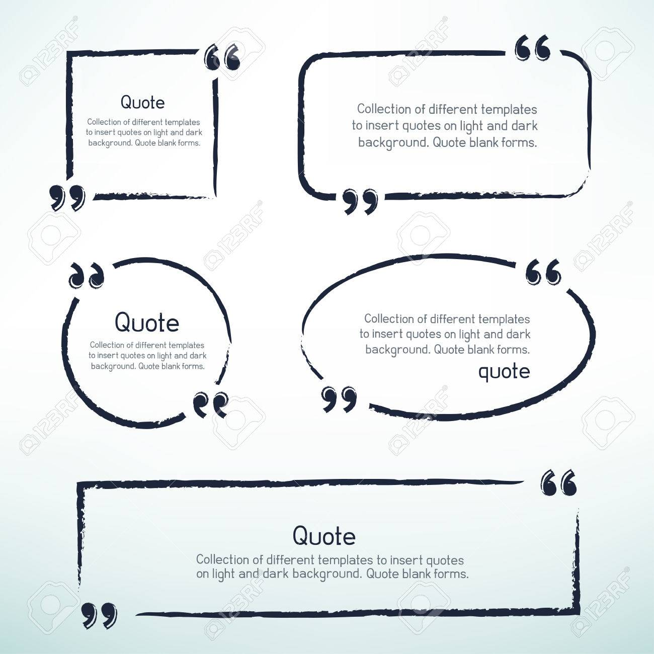 Hand drawn templates for writing quotes  Round square oval rectangular
