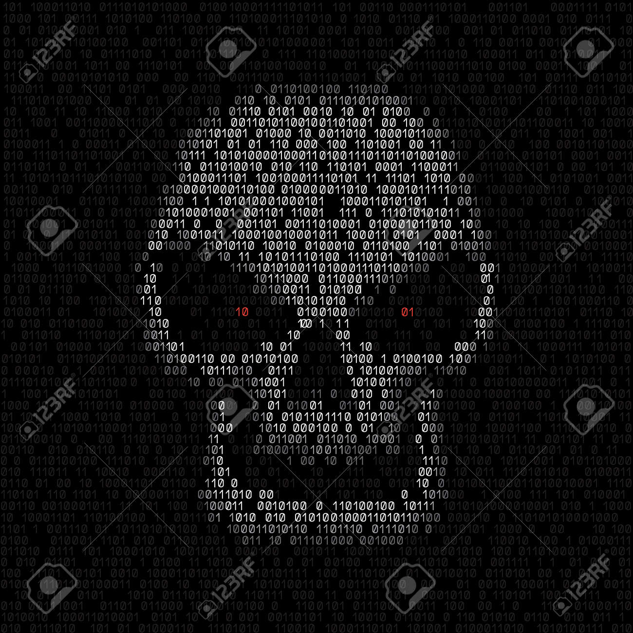 Programming Code Shows White Hacker Skull With Red Eyes On Black