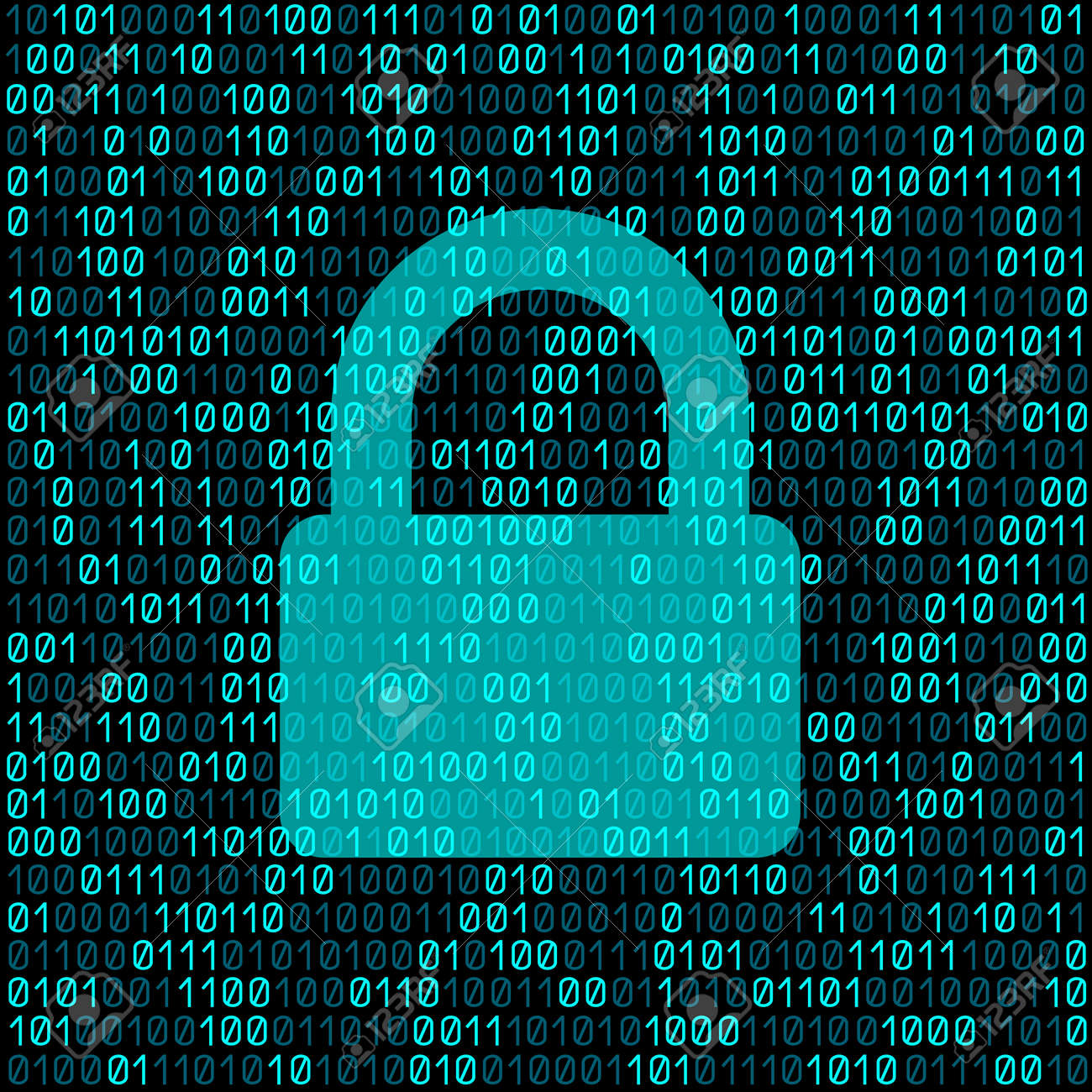 Closed transparent lock on blue cyber digital code background. - 82677912