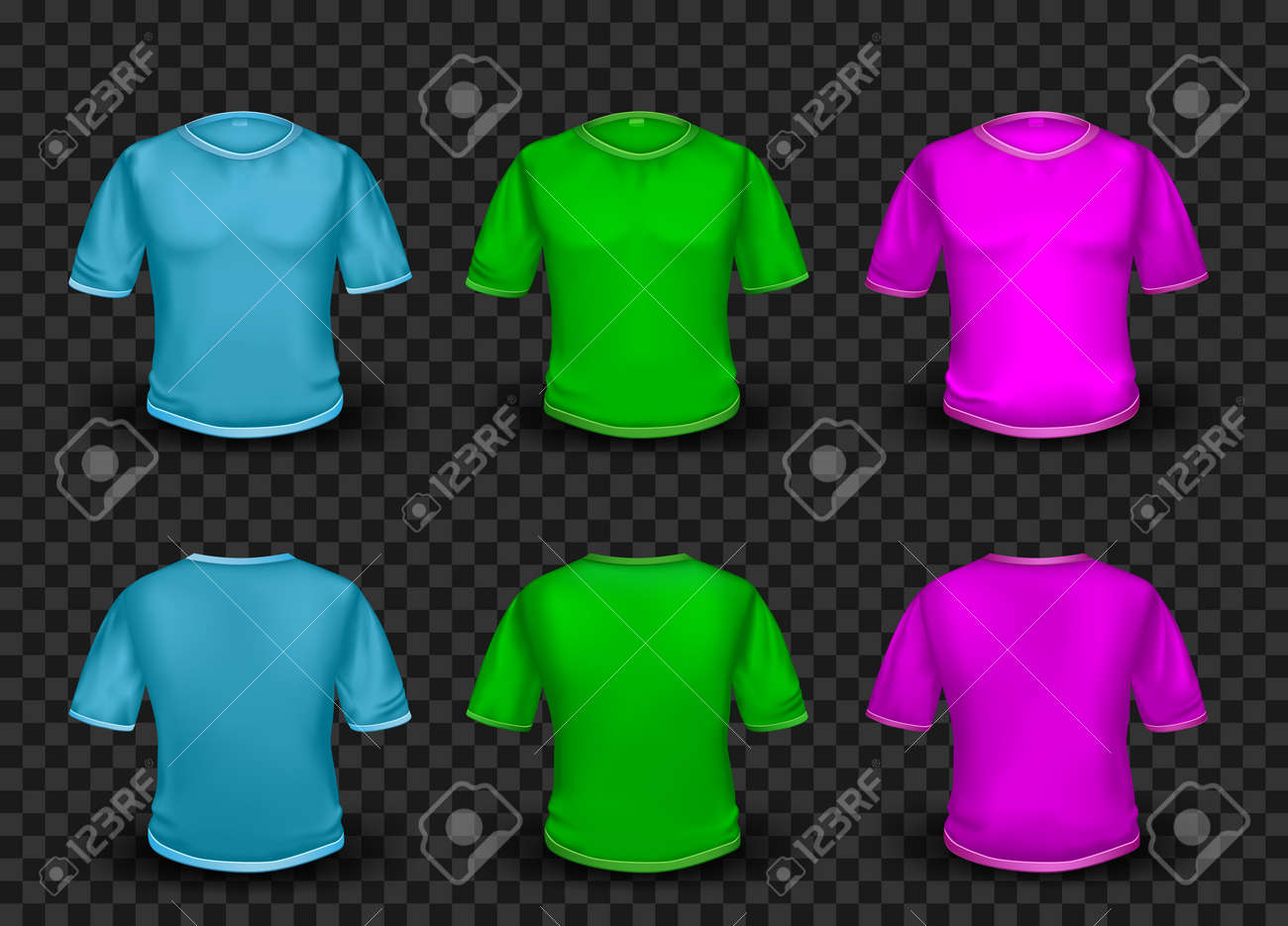 Colorful Empty T Shirt Template On Transparent Background Royalty