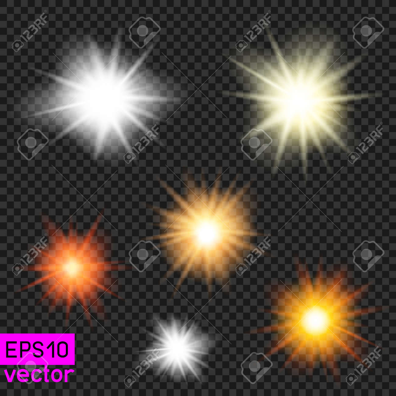 set of vector suns or lamps light template on dark transparent