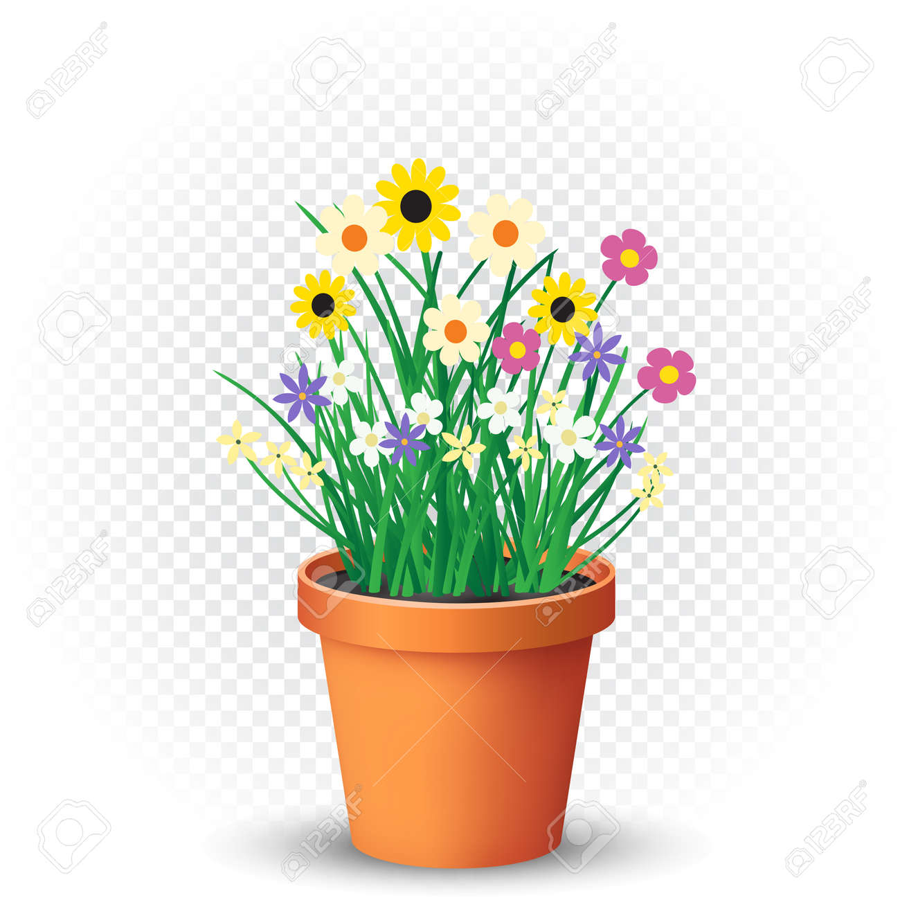 Flowerpot With Flowers Plant And Grass On White Transparent