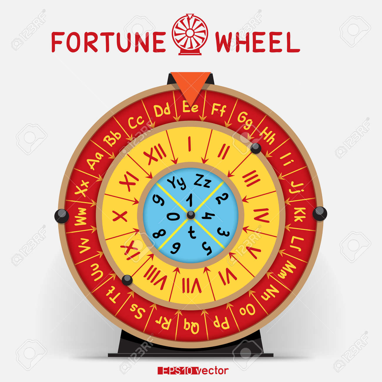 Wheel Of Fortune Template | Wheel Of Fortune Template With Letters Roman Numerals And Shadow