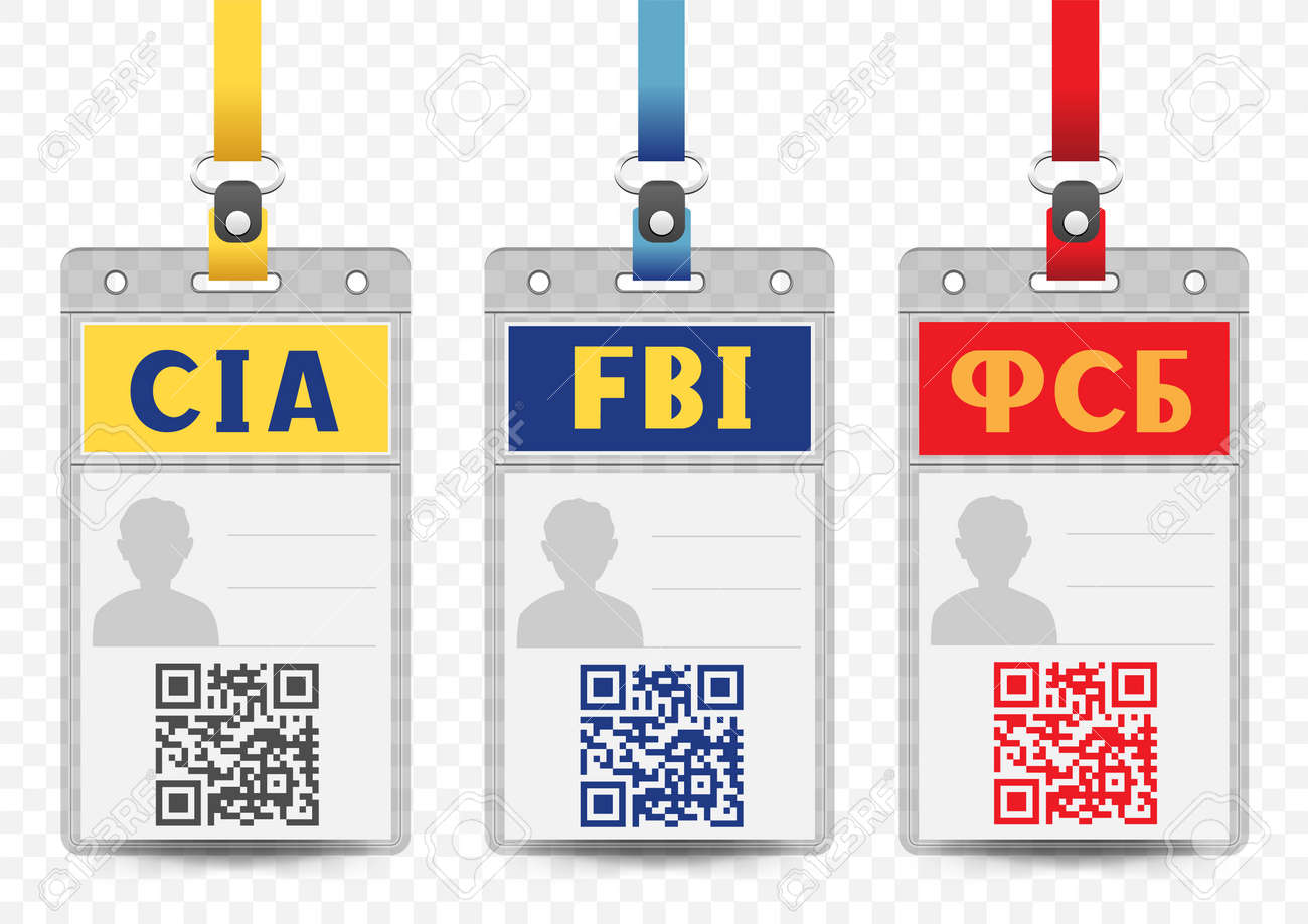 Template Blue Vertical Yellow Security Badge Empty Service With