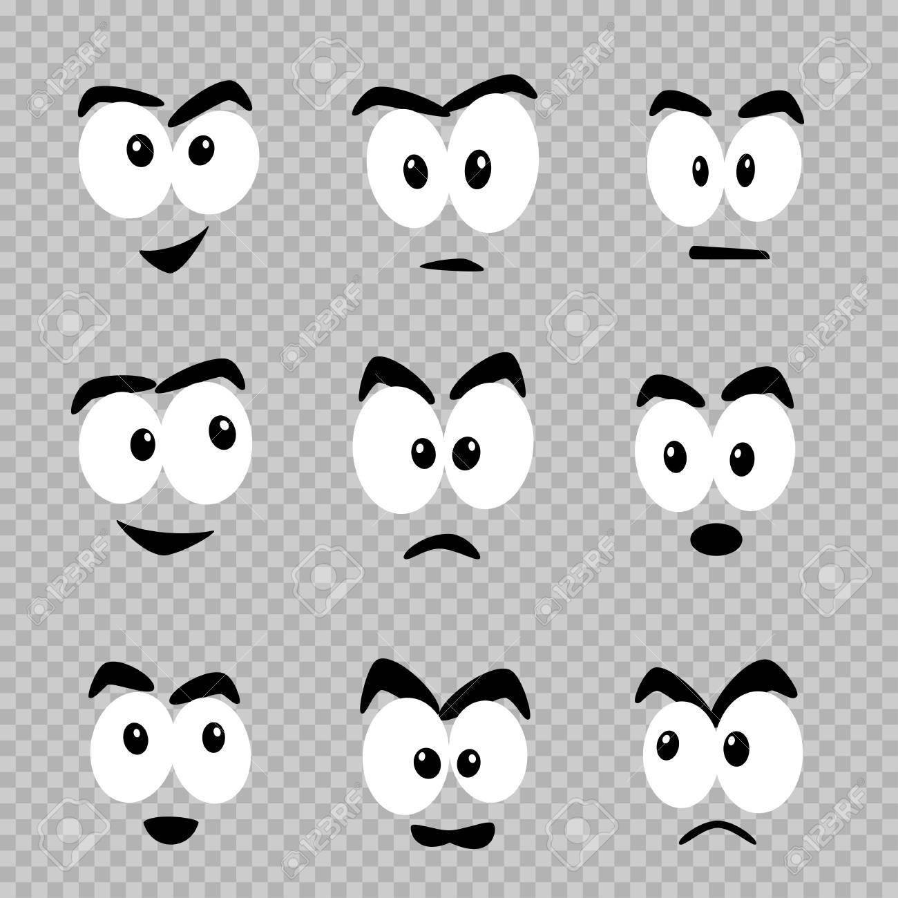 Cartoon Eyes Template Set On Transparent Background Comics Faces