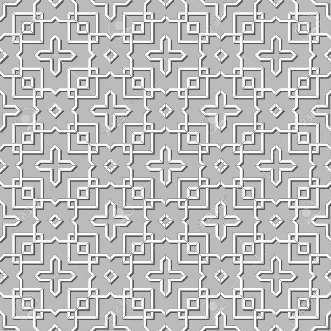 Abstrait Geometrique Papier Peint Islamique Modele Arabe Noir Blanc