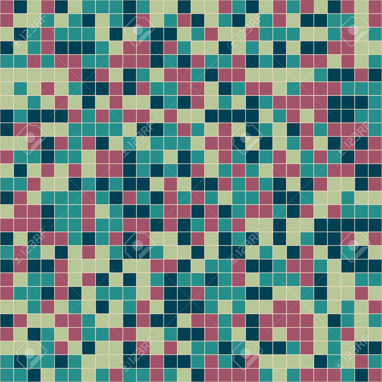 Mosaic Tiles Texture Vector Pattern. Square Pixel Seamless ...