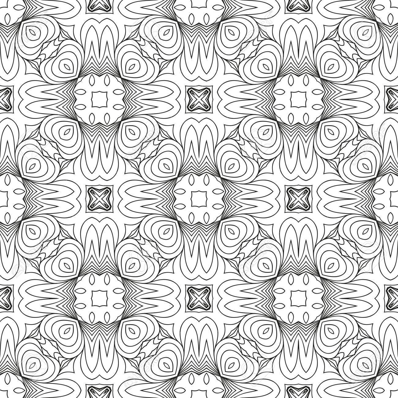 Vector Black White Seamless Wallpaper Vintage Pattern Retro