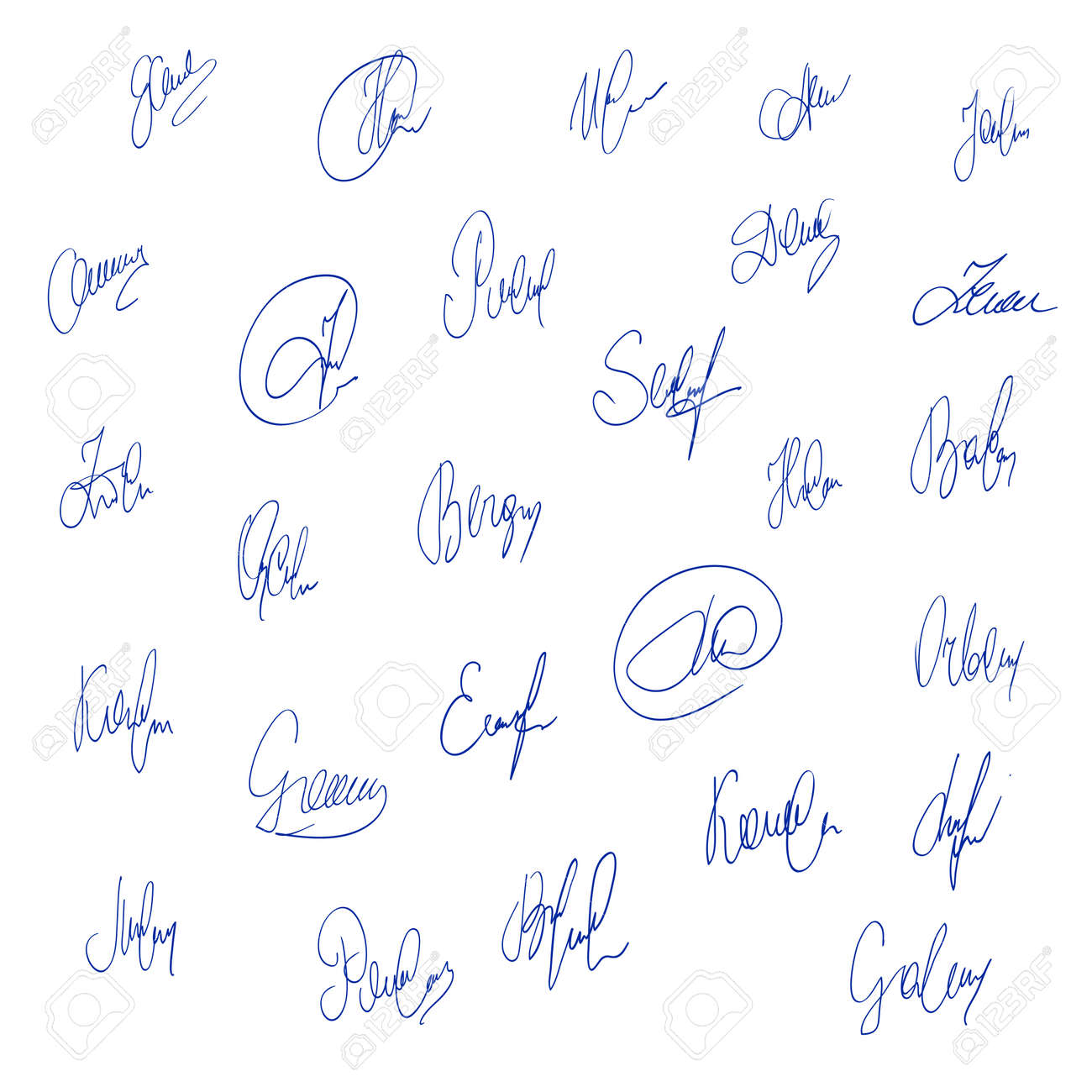 Collection of vector signatures fictitious autograph personal signature isolated on white background stock vector