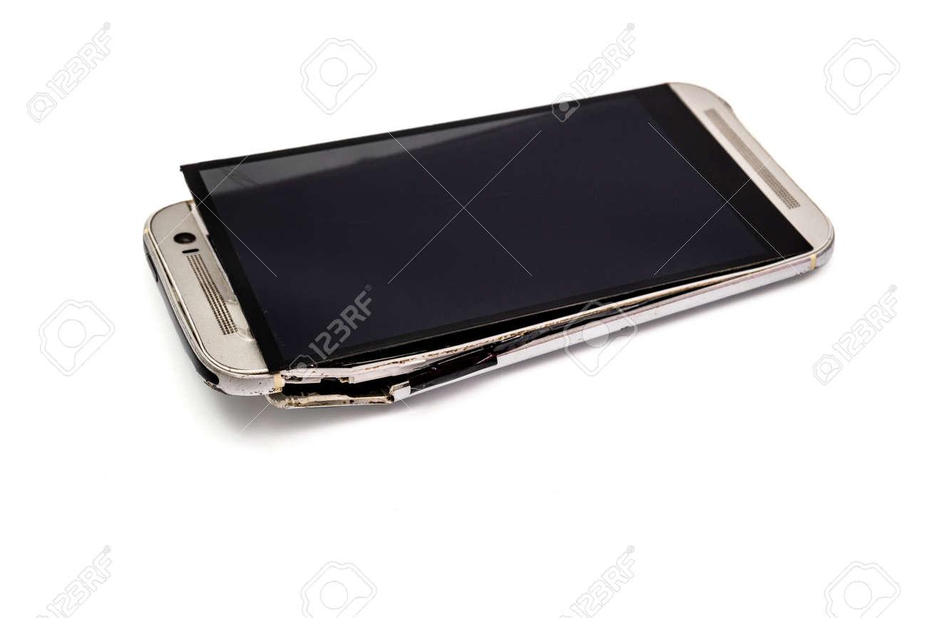 Immagini Stock Il Telefono è Caduto Sul Pavimento E Si è Rotto Con