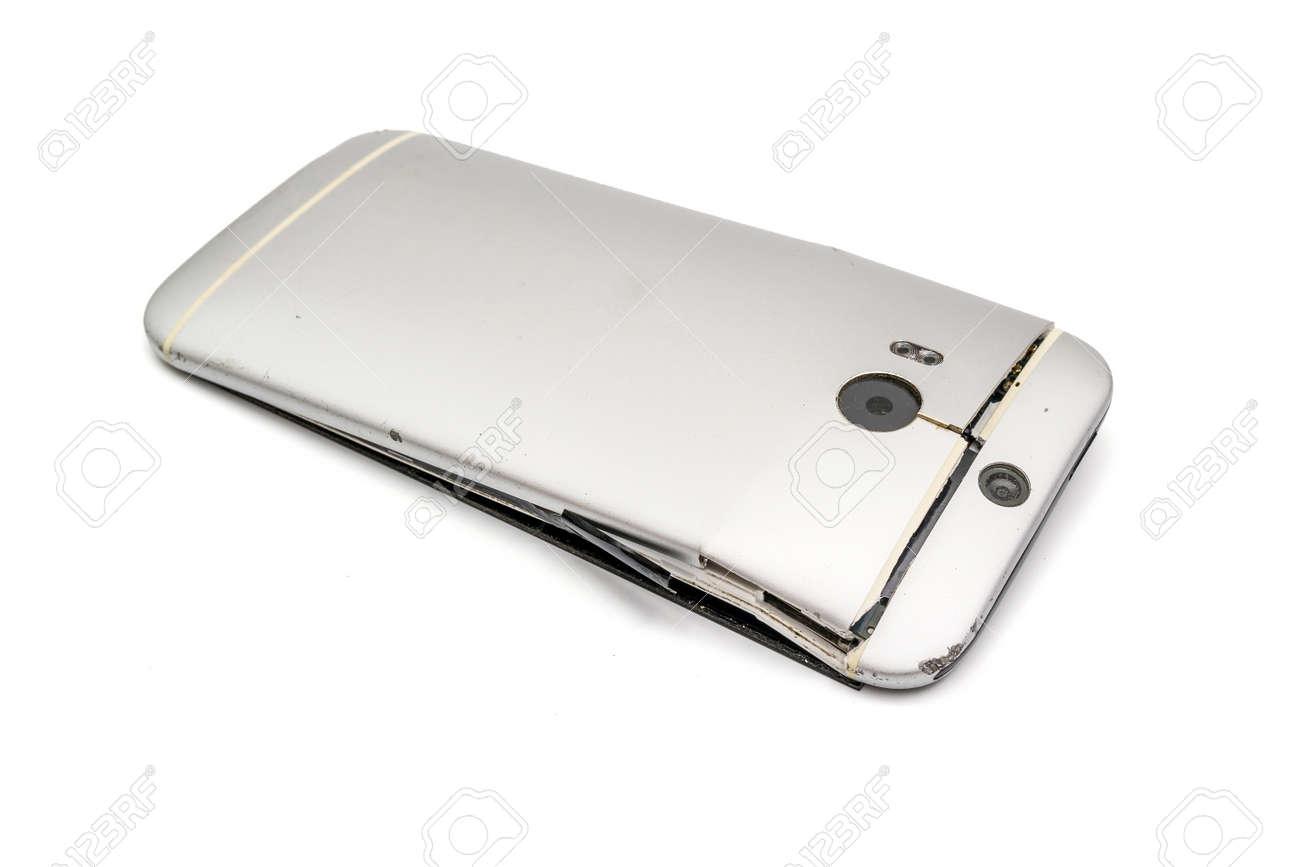 Immagini Stock Il Telefono Cellulare Che è Caduto Era Rotto Un
