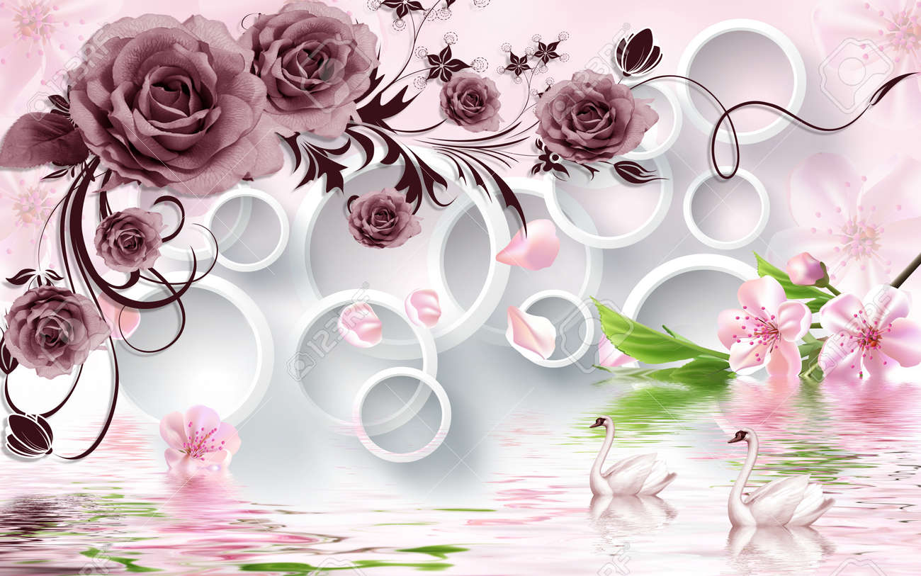 Rose Flowers On 3d White Circle Background With Duck Wallpaper