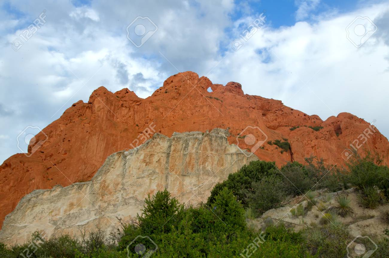 Garden of the Gods Kissing Camels with Cloudy skies