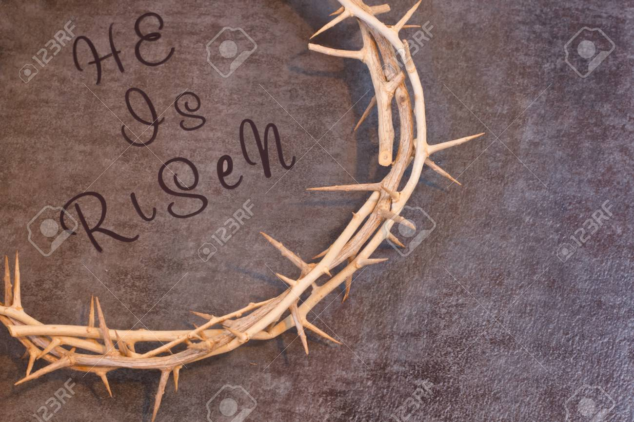 Easter He Is Risen Quote Surrounded By A Crown Of Thorns On A