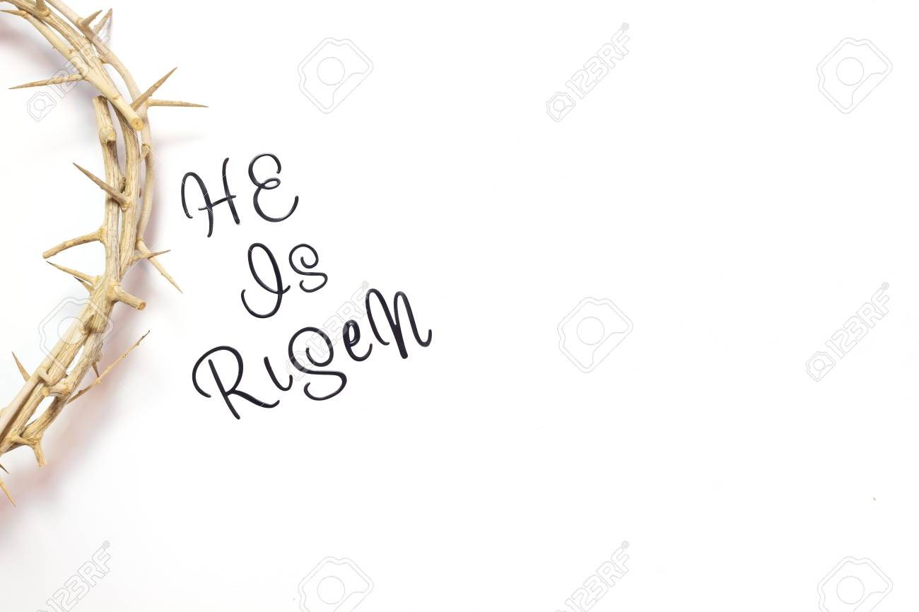 Easter He is Risen Quote isolated on white background with Crown..