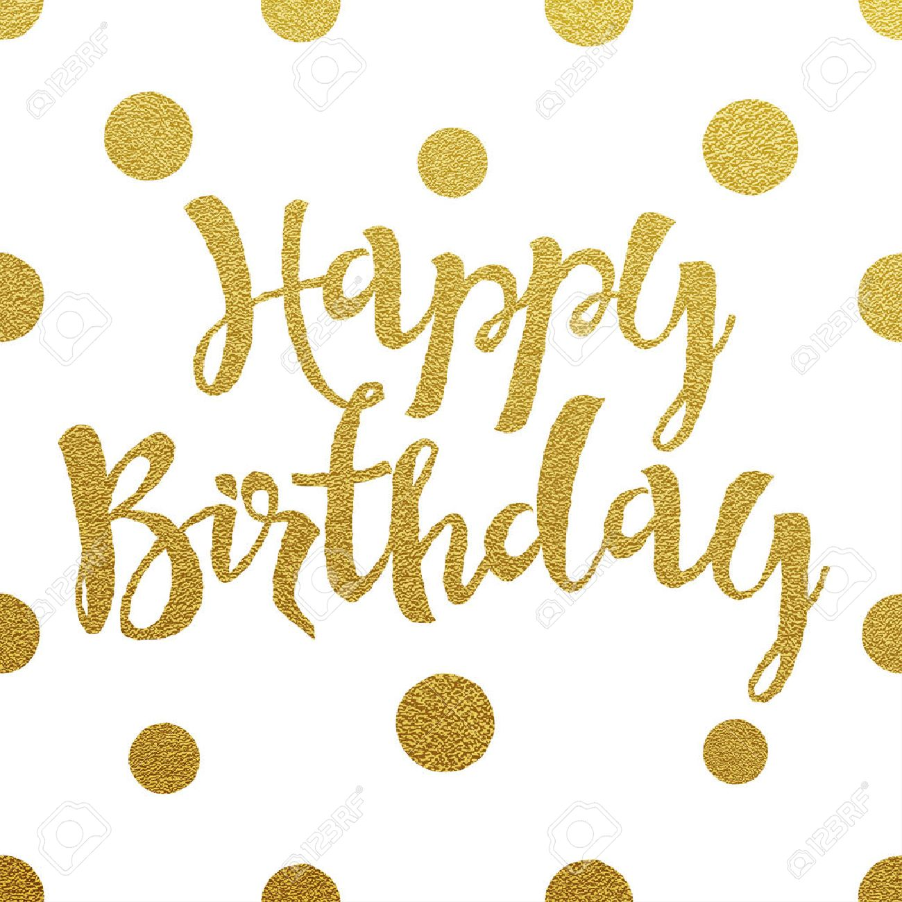 Happy Birthday Card With Design Of Gold Letters On White Background