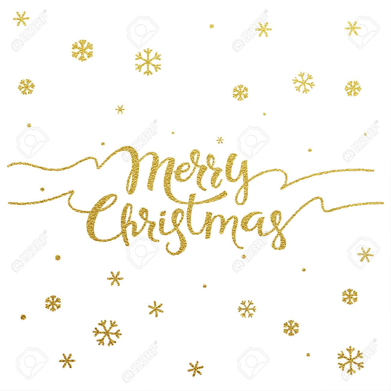 Merry Christmas Card With Design Of Gold Letters On White Background