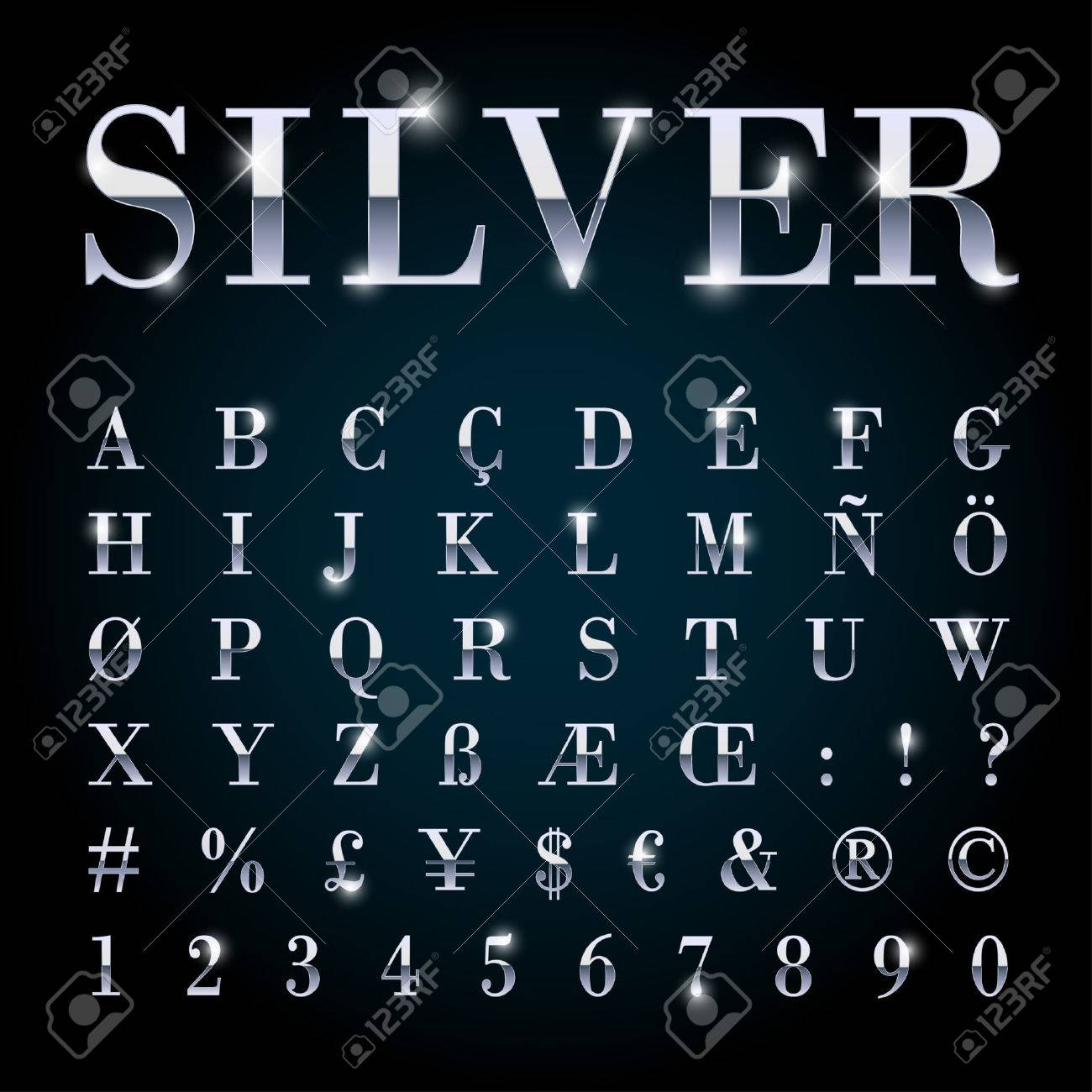 Silver metal font set with letters, numbers, currency sings and