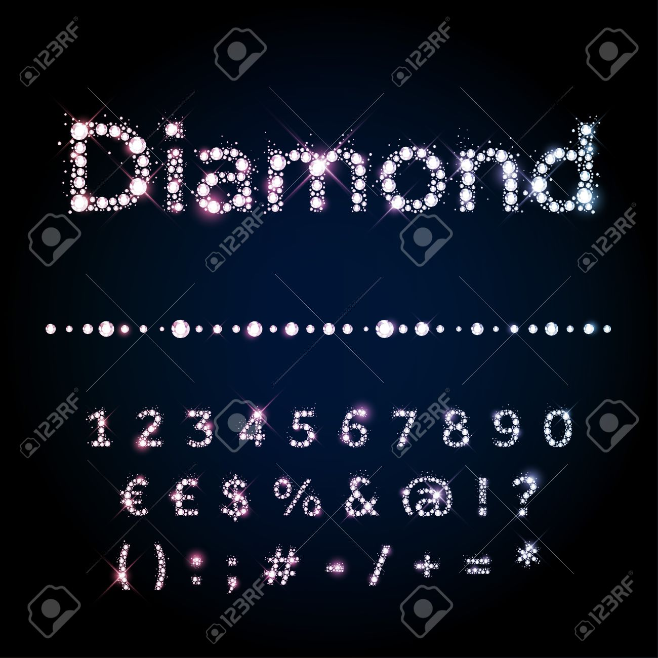 Shiny diamond vector font set numbers and special symbols