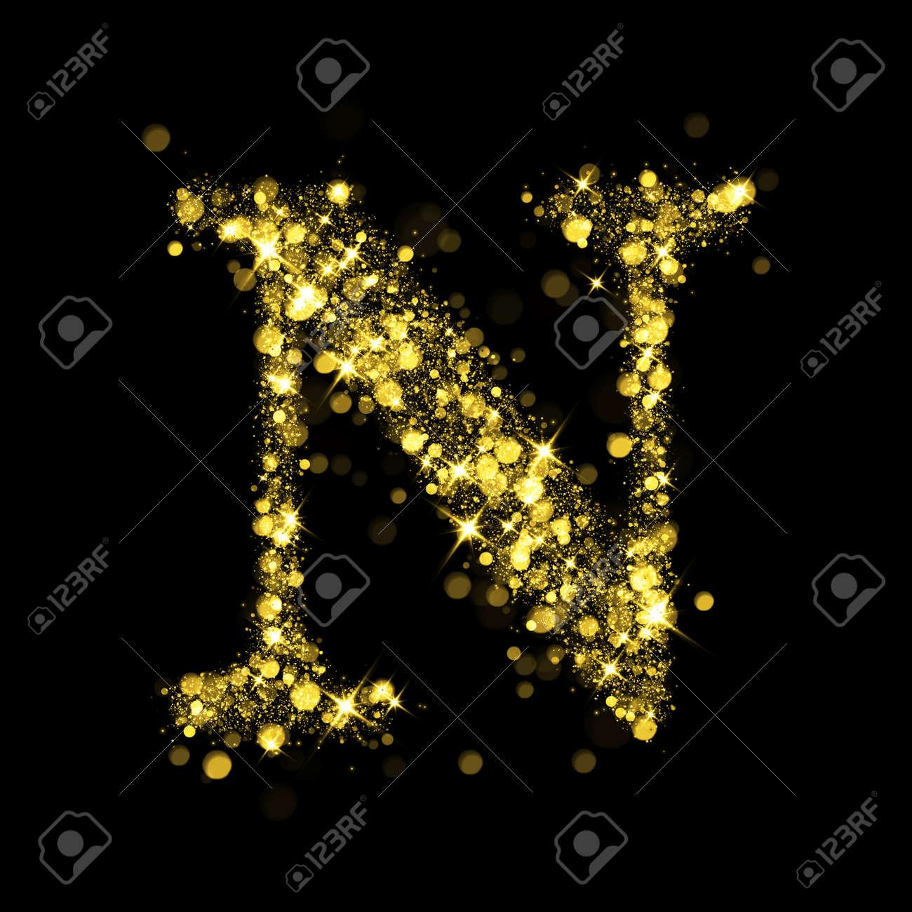 sparkling letter n on black background part of alphabet set stock