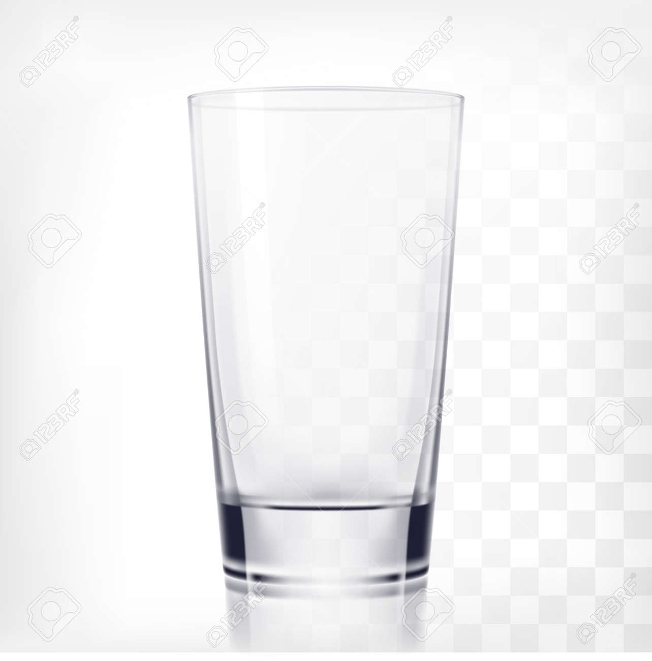 Empty Drinking Glass Cup. Transparent Glass On Transparent Background Stock  Vector   46700263
