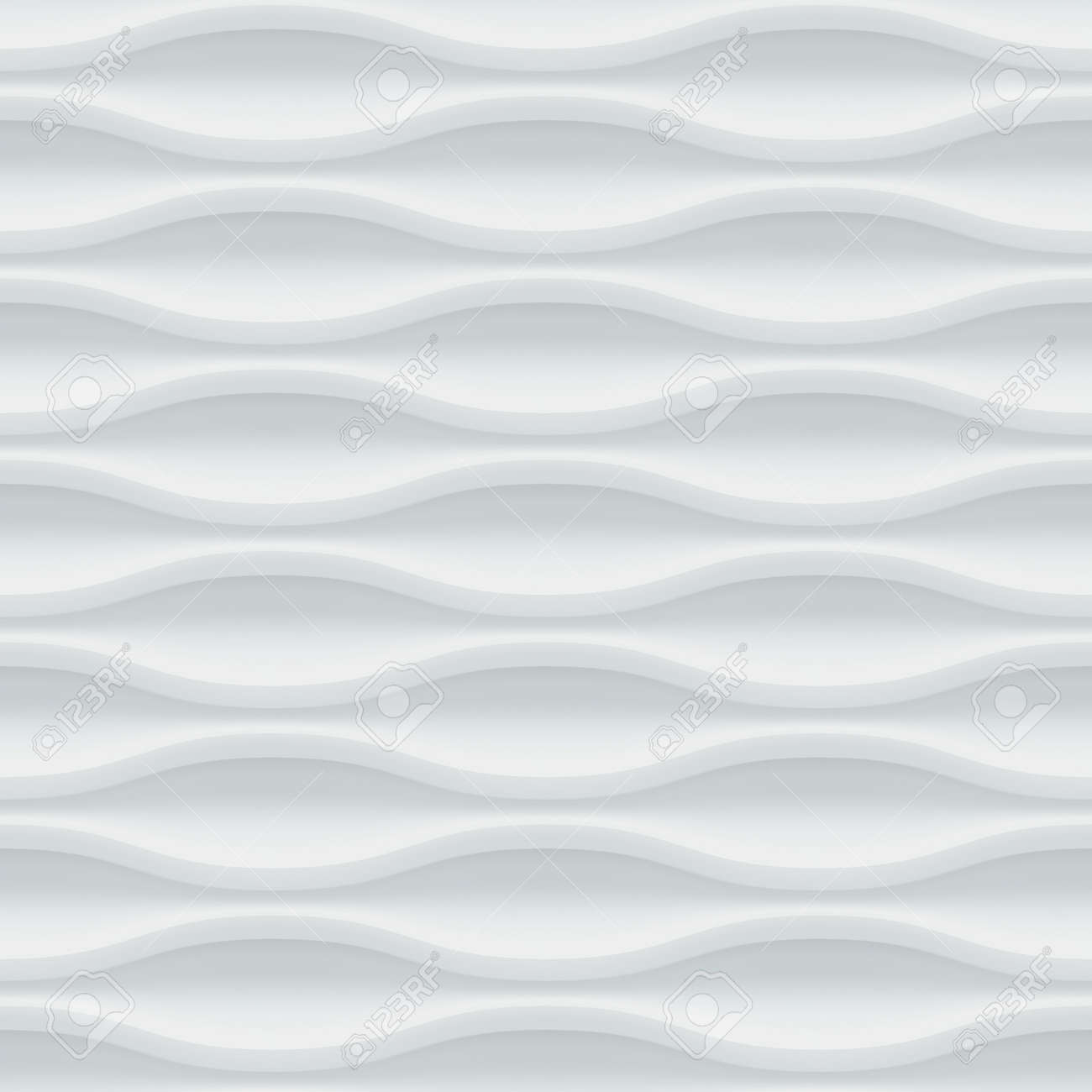 White seamless texture. Wavy background. Interior wall decoration. Vector interior panel pattern. Stock Vector - 47163245