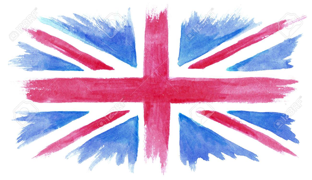 Acuarela Pintada A Mano La Bandera De Reino Unido, Acuarela Bandera ...