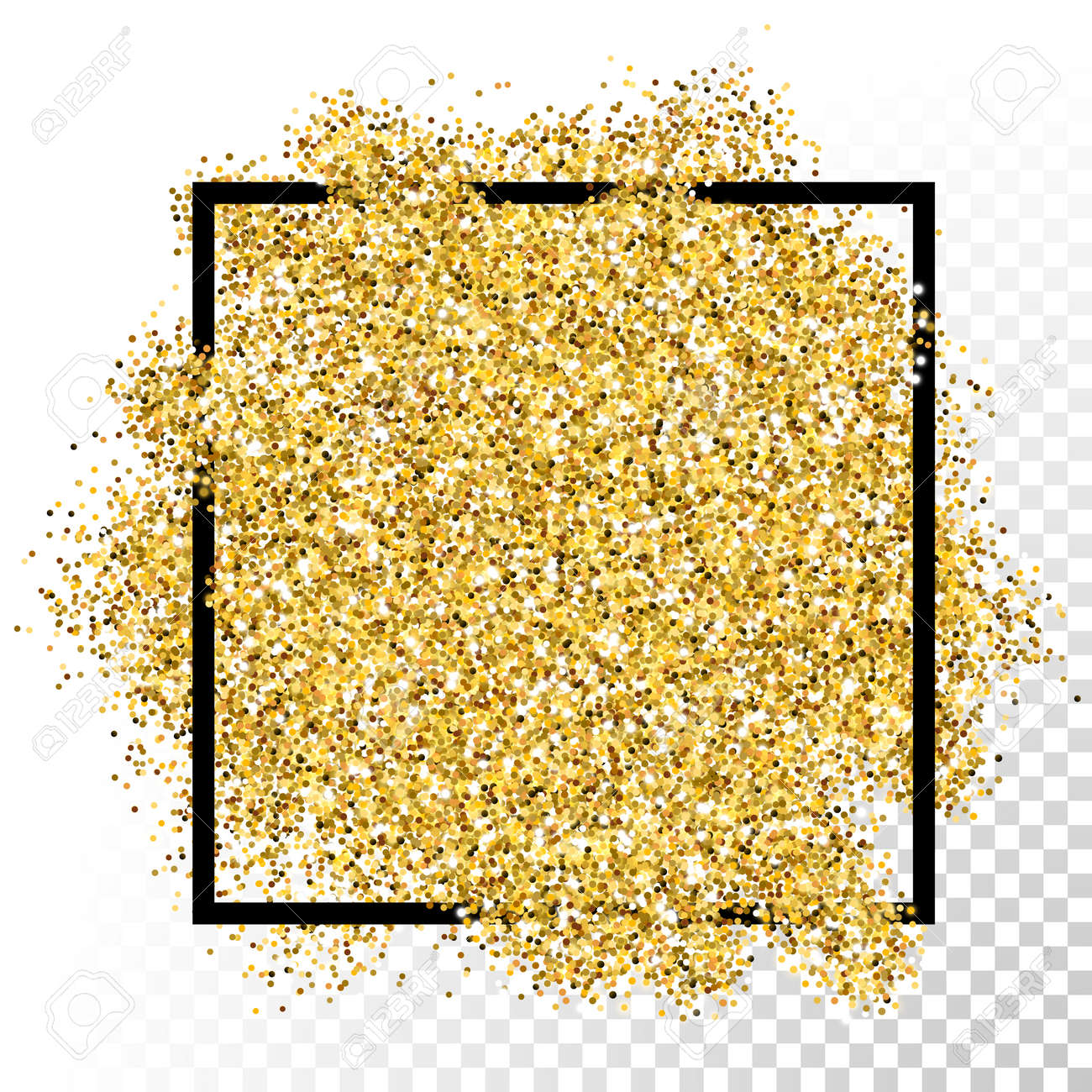 Gold glitter bright vector transparent background golden sparkles - Vector Gold Glitter Particles Texture In Frame On Transparent Background Stock Vector 49962725