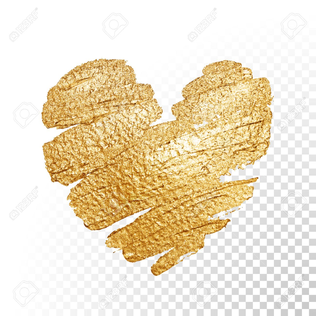 vector gold paint heart on transparent background love concept