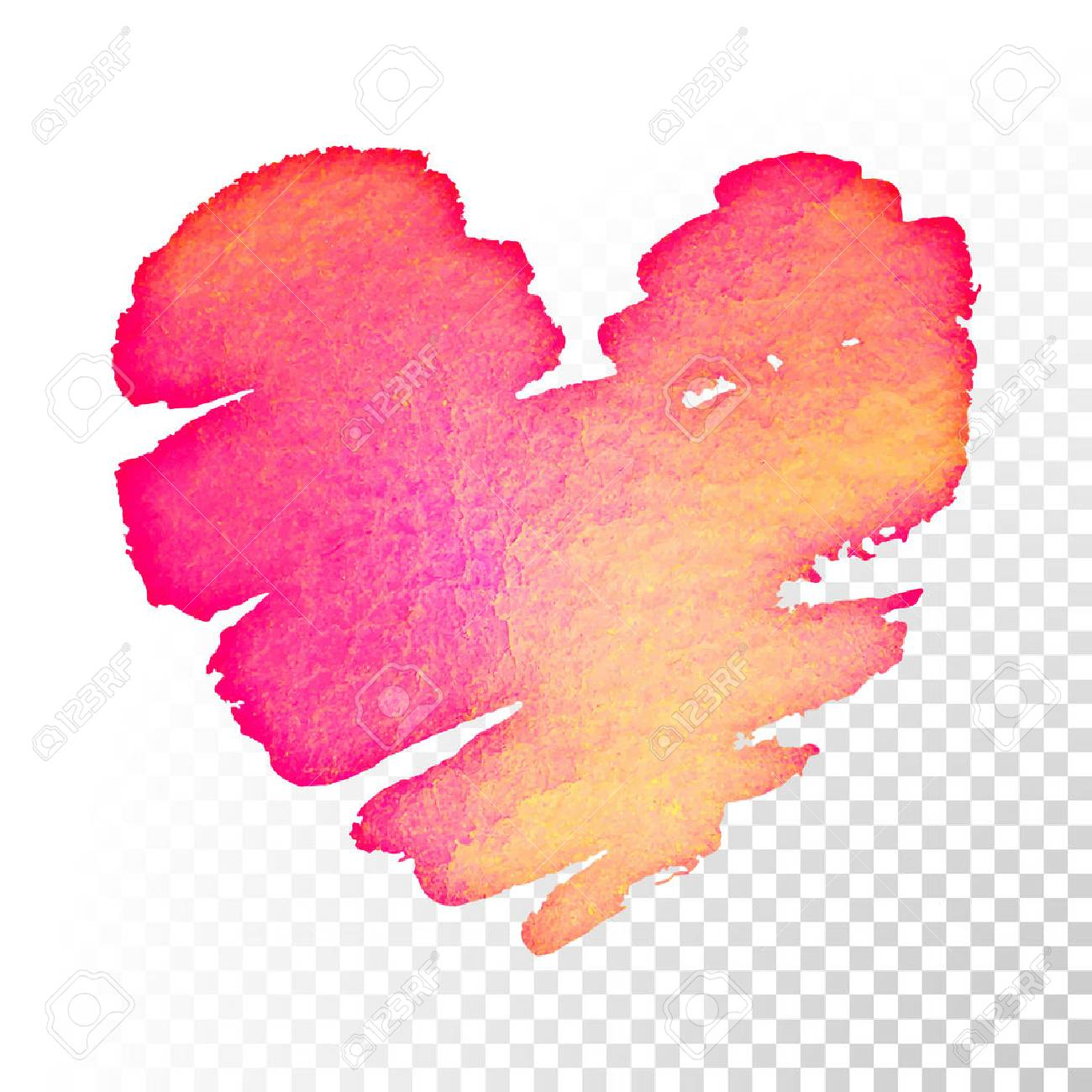 Valentines Day Pink And Red Watercolor Heart On Transparent