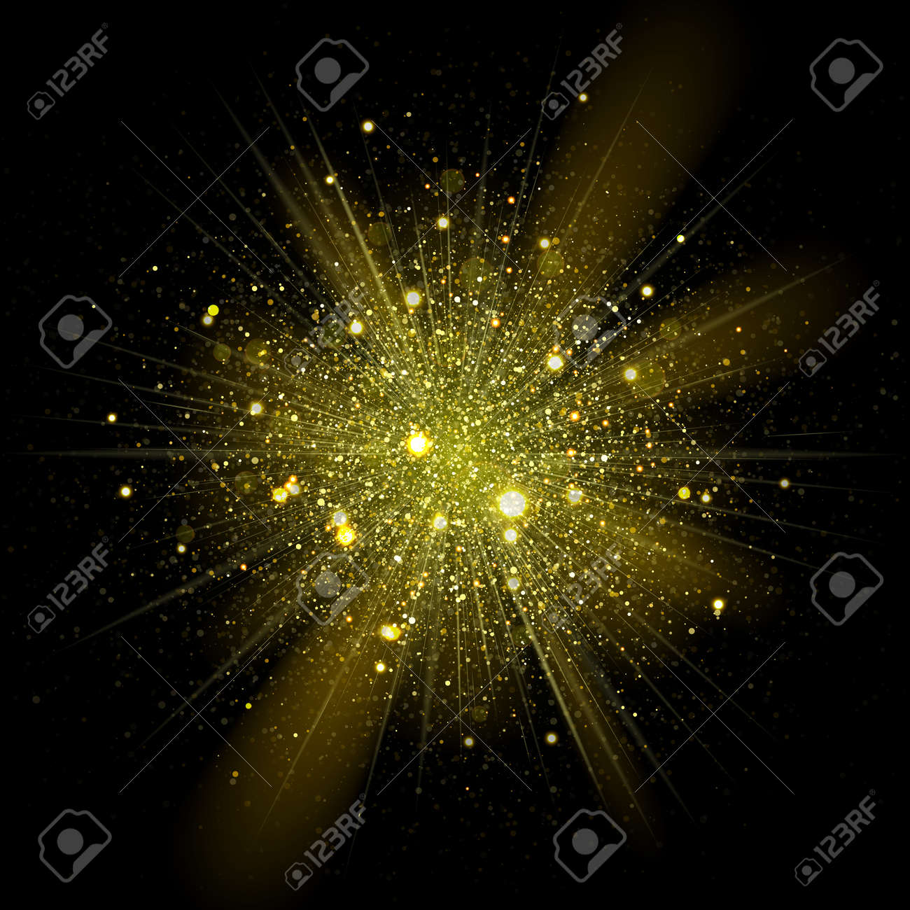 Vector fashionable stars sparks in explosion. Glittering shining particles in starry ouburst in dark cosmic background - 52324698