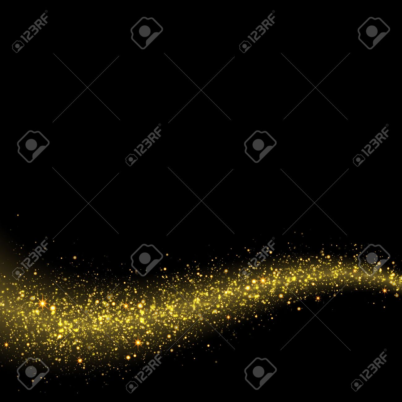 Gold glittering stars dust trail sparkling particles on black background. Space comet tail. - 52407008