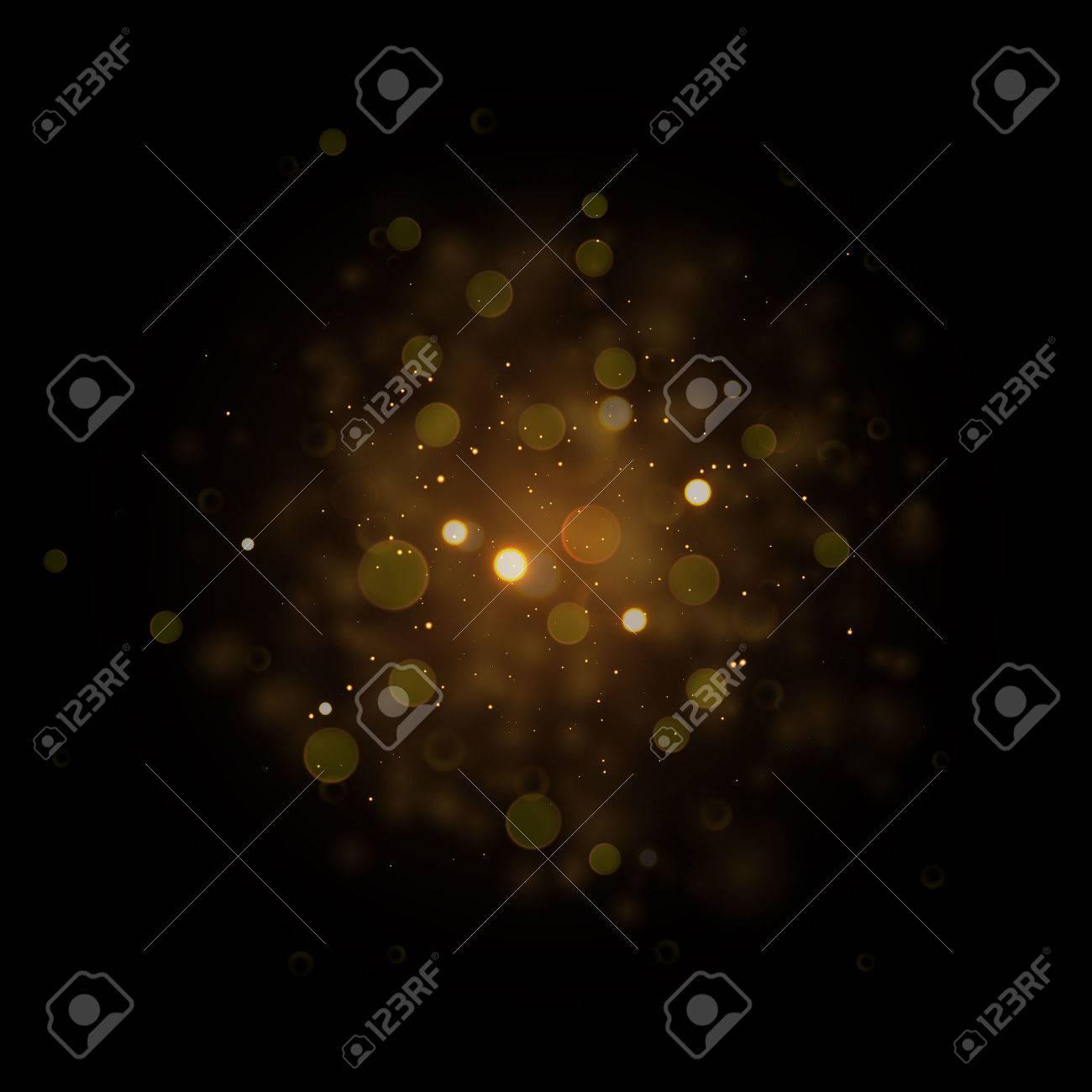 おしゃれな星レンズ フレア輝く空間。暗黒宇宙銀河背景に粒子を輝く