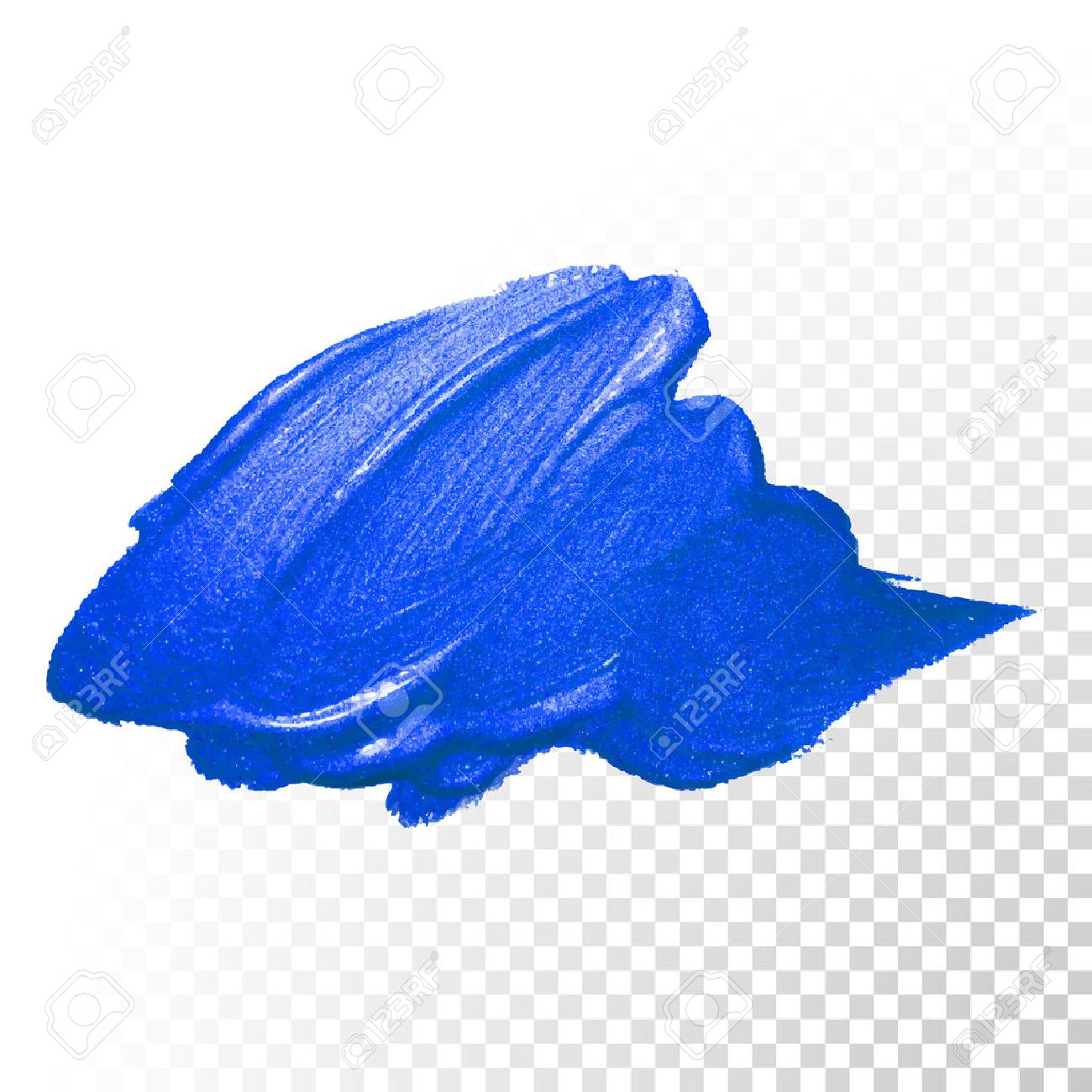 Deep Blue Watercolor Brush Stroke. Abstract Shape. Vector Oil