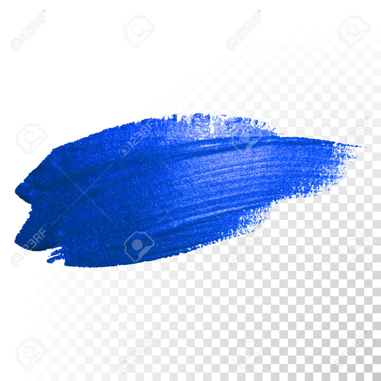 Deep blue watercolor brush stroke. Abstract shape. Vector oil paint smear line on transparent background - 52538081