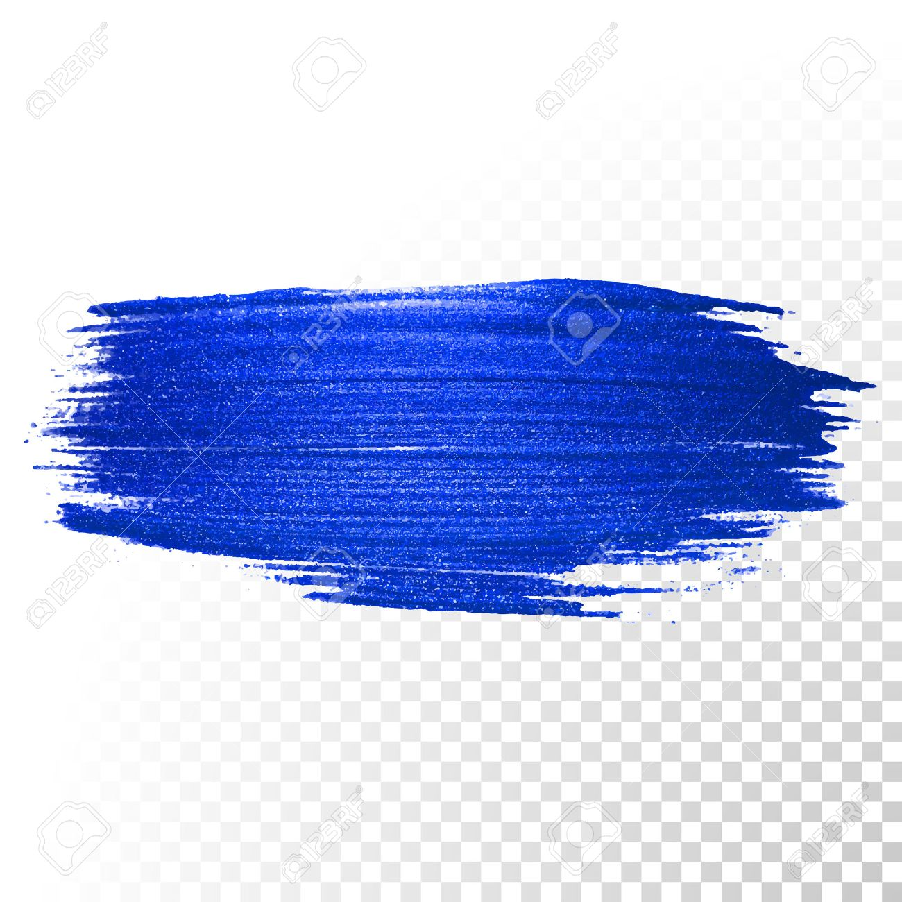 Deep blue watercolor brush stroke. Abstract shape. Vector oil paint smear line on transparent background - 52540554