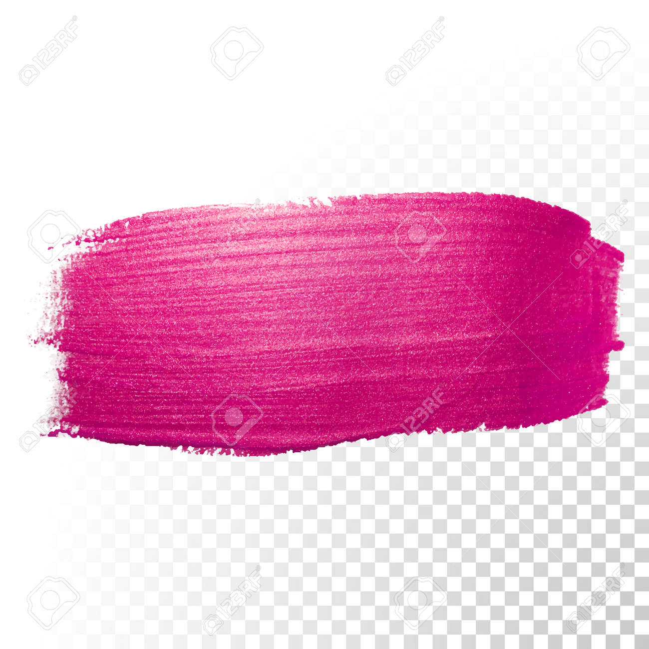 Vector pink watercolor brush stroke. Polish splash line trace. Abstract shape red oil paint smear on transparent background. - 52868116